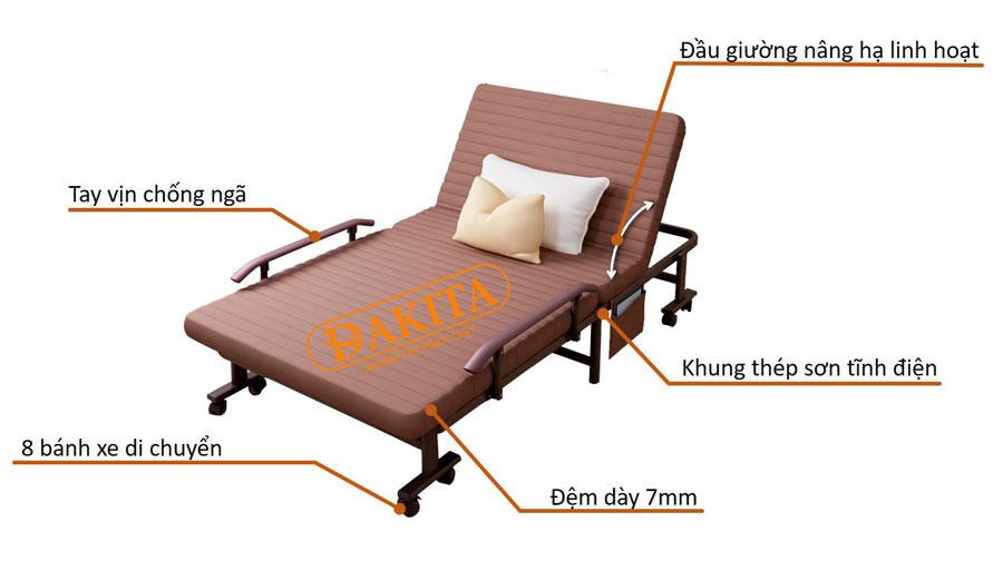 cấu tạo giường nệm xếp dakita