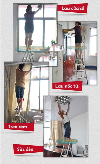 ứng dụng thang nhôm ghế inox